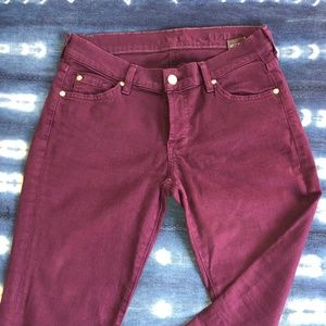 7 For All Mankind purple skinny jeans 29